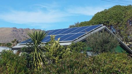 solar panels on shed in bush